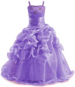Organza Ball Gown Girls Prom Dresses Spaghetti Straps Glitter Children Princess Dress Crystal Beaded Kids Pageant Dresses