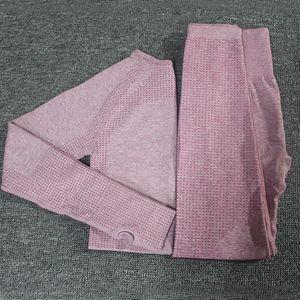 2pcs / set Vital Mulheres Suit Sport Yoga Set Gym Workout Clothes manga comprida Academia Top Curto + cintura alta energia sem emenda Leggings LY191129