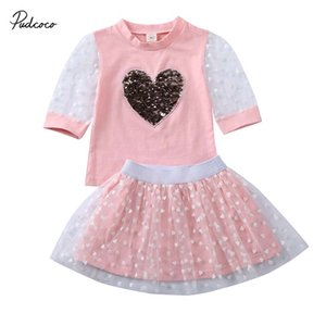 2020 Baby Summer Clothing Toddler Kid Baby Girl Clothes Sequin Love Top Mesh Long Sleeve T-shirt Lace Skirt Party Chiffon Outfit