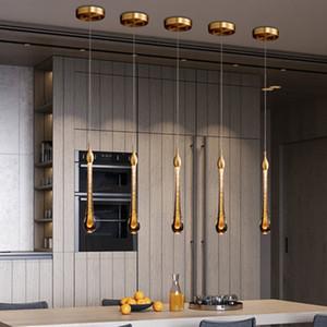 Modern lâmpada de cristal pingente luzes Nordic Pendant Lighting Living Room Sala de jantar cabeceira quarto Hotel Loft Decor Lâmpada de suspensão