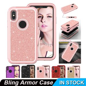 Case For iPhone 11 11 Pro 11 Pro max Luxury Bling Armor Shockproof Glitter Sparkle Cover Soft Silicon PC Hybrid Protect Cellphone Case