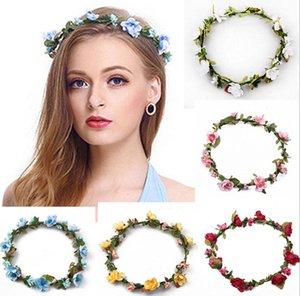 Bohemian Hair Crowns Flower Flowerbands Donne Artificiali Floral Hairbands Fashion Headwear per ragazze Accessori per capelli Beach Ghirland da sposa