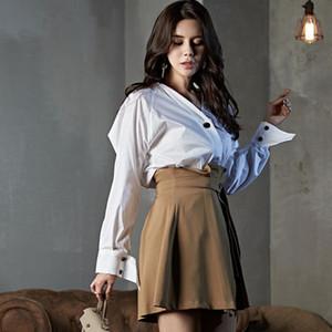 Resorte de las mujeres OL Casual 2 juegos de Pieces camisa de manga larga de cultivos diferencia Top + delgado de cintura alta falda plisada oficina de señora