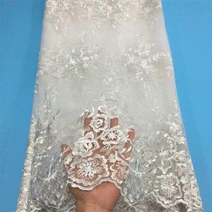 New African Lace Fabric 2020 Qualitäts-Spitze-weiße gestickte Brocade Französisch Tüll Gewebe für Nigerian Partei-Kleid
