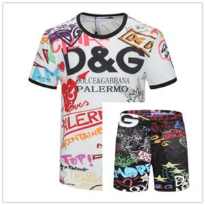 Uomo Nuovo progettista di marca Imposta T-shirt e pantaloni corti tuta di estate delle donne del cotone degli uomini del vestito Breve vestito di sport 2Pcs Set s-3XL