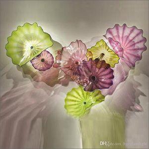 Venta caliente soplado hecho a mano placas de vidrio de flores Art Hotel Gallery Decoración Soplado placas de vidrio flor arte de la pared