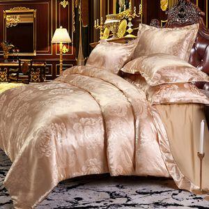 Keluo Düğün Lüks Yatak Jakarlı Queen / King Size Nevresim Seti düğün yatak örtüsü Yatak Örtüsü çarşaf altın ayarlar