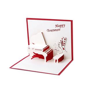 Поздравительные открытки с днем рождения 3D Laser Cut Поздравительные открытки с днем рождения Пианино Подарочные карты Открытки ручной работы на заказ Подарок