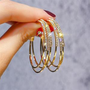 Hot Fashion Jewelry Korean Luxury Crystal Exaggerated Nightclub Earrings Big Hoop Metal Earring For Women Xmas Gift T475