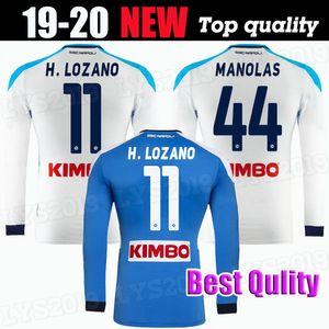 2019 2020 Napoli manches longues Football Maillots Naples H.LOZANO MERTENS INSIGNE KOULIBALY Manolas sur mesure 19 20 bleu chemise blanche de football