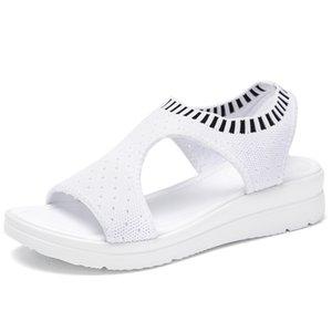 Hot Sale-Sommer-Frauen-Sandelholz-Plus-Größe 35-45 Keil Breathableemale Peep Toe Damen Feste Slip-on Bequeme Schuhe Damen
