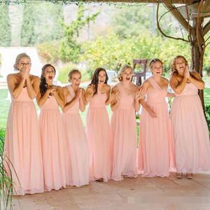 Robe de demoiselle d'honneur d'une épaule rose Longueur de plancher une ligne 2020 plis de mousseline de mousseline Ruchée Plus Taille Maid de la robe d'honneur pour le mariage de pays