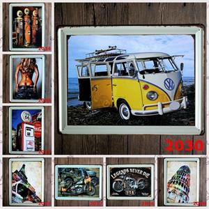 objetos de decoração Vintage café bar Placas decorativas pintura Folha do ferro decorativa Vintage artesanato carro de metal decorativos SH190918