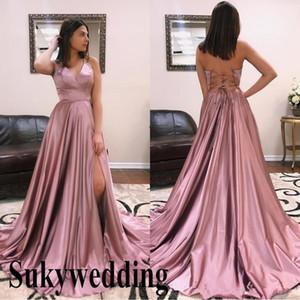 2019 Sexy Une ligne Robes de bal fendu sur le côté haut lacées dos nu Dusty Rose Halter Pageant Robes de demoiselle d'honneur Robes pas cher robe de soirée formelle