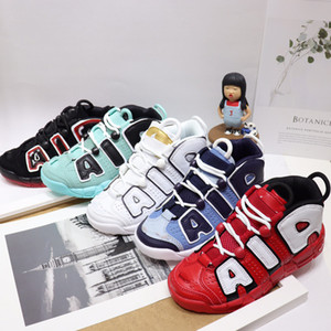 Kids Girls Air more 96 QS Olympic Varsity Maroon Childrens Basketball Shoes black gold Airs 3M Scottie Pippen Uptempo Boy Sports Sneakers