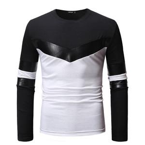 Tasarımcı Deri Kasetli Erkek tişörtleri Moda Uzun Kollu Casual Tshirt İlkbahar ve Sonbahar Kontrast Renk Giysiler