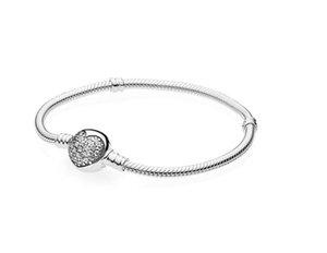 Kadınlar W262 için kutu Fit Pan-dora Avrupa Boncuk Takı Bileklik Gerçek gümüş Bilezik 925 Gümüş AŞK Kalp Charms Bilezik
