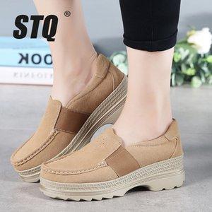 Loafers On Kadınlar Kayma için STQ 2020 Sonbahar Kadın Platformu Sneakers Ayakkabı Oxford Ayakkabılar 5068 Günlük Daire Sneakers