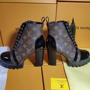 2020 neue Art und Weise Luxuxdame starke Ferse Stiefel beiläufige Art und Weise wilde Frauen kurze Stiefel schnüren sich oben Heel Martin Stiefel Hohe 9cm