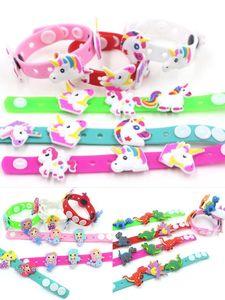 2019 Unicorn Dinosaur Mermaid Bracelet Lovely Cartoon Wristband Fashion Kid Girls Gift Soft PVC Rubber Accessory Charming novelty Toy