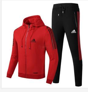 Hot Sale Sport Marque MASCULIN FÉMININ Survêtements Side manches longues rayures vestes à capuchon Pantalons Jogger Vêtements de sport pour hommes Nouveau
