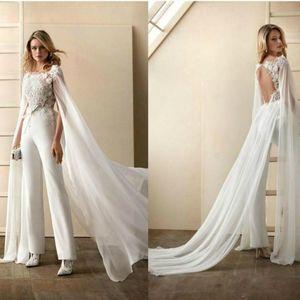 Fashion Women Jumpsuit Wedding Bridal Dresses Sexy Open Back Boho Beach Wedding Dress 2020 Berta Bridal Kaftan Sleeve Chiffon Beach Wedding