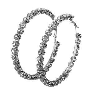 Orecchini di cerchio di gemme di vetro strass di moda 47-95mm orecchino di cerchio grande cerchio per regalo di gioielli delle donne