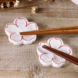 Estilo chinês Oriental Suporte De Pauzinhos De Cerâmica De Madeira Porcelana Chopsticks Suporte Cremalheira Colher Garfo Titular Decoração de Casa