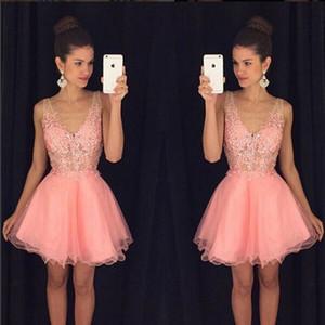 Pink Short Homecoming Dress 2019 푹신한 스커트 칵테일 파티 드레스 레이스 얇은 명주 그물 아랍어 미니 댄스 파티 드레스를 통해 볼 졸업 가운