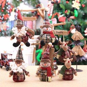 Cute Sitting Doll Santa Clause Elk Snowman no Leg Christmas Ornaments for Home Store Shop Window Children Xmas Gift Room Decor