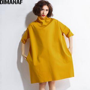 Dimanaf Vestidos de otoño para mujer Cuello alto de algodón Tejer Femme Ropa Elegante Sólido Vestidos Tallas grandes Moda Vestido de dama 2018 Y19051001