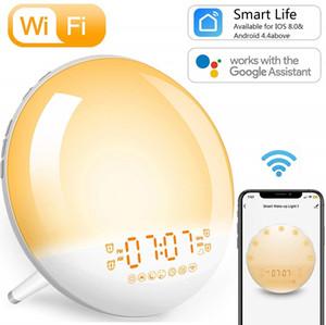 شروق الشمس المنبه يستيقظ الضوء الذكي WIFI محاكاة الرقمية LED ساعة يدعم التحكم في التطبيق مع راديو FM 7 لون السرير ضوء الليل
