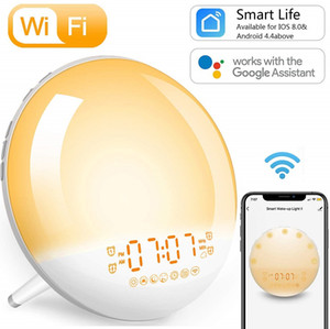 ساعة منبه شروق الشمس استيقظ ضوء ذكي محاكاة WiFi Digital LED Clock دعم تطبيق Control مع FM Radio 7 Color Bedside Night Light Light