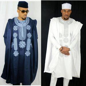 Africa uomini dashiki bazin ricche abiti top camicia pantalone 3 pezzi set ricamo navy blu nero bianco africano mens abbigliamento abito