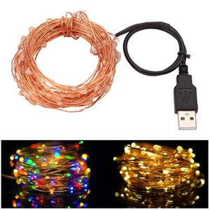 10M 33FT 100 led USB Outdoor Led Copper Wire String Lights Christmas Festival Wedding Party Garland Decoration Fairy