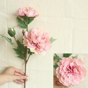 6PCS محاكاة الفاوانيا 3head الزهور الاصطناعية الصينية الديكور المنزلي الزفاف القابضة زهرة طريق الرصاص زهرة الجدار الفاوانيا اكليل