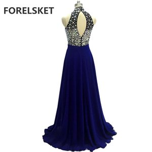 Beading Crystal Navy Blue Chiffon Prom Dresses Long 2020 Royal Blue keyhole Back Sequins Halter Formal Evening Party Gown Vestido De Festa