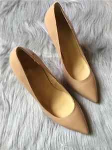 Nouveau Simple Women High Heels Pompe en cuir nude, Nouvelle plateforme Peep Toe 13 cm compensée en semelle rouge Taille 35-41