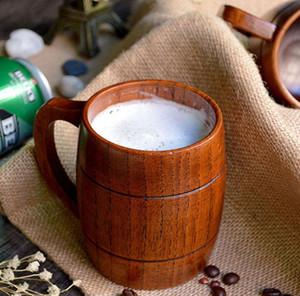 Klassische hölzerne Bier Tee Kaffeetasse Umweltfreundlich Jujube Holz Becher Handgemachte Barrel Wasser-Flasche Saft Milch Hitzebeständige Cup 10PCS GGA45