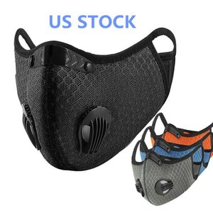 Nosotros stock, Máscaras Ciclismo facial protectora con filtro de carbón activado Negro PM2.5 polvo Deporte de formación vial de bicicletas reutilizable Máscaras FY9060