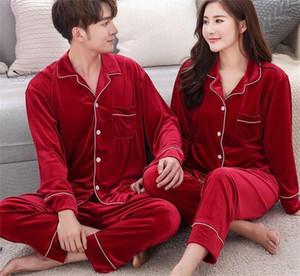 Uzun Kollu Pijama Erkek Moda Gevşek İç Womens Artı boyutu Sleepwears Suits Çift Tasarımcı Yaka Boyun Düğmesi ayarlar