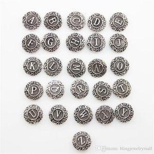 Snap Düğmesi Takı Antik Gümüş Düğme Yapış Fit Snaps Düğme Bilezik İlk A-Z Alfabe Mektubu 18mm Karışımı Toptan ZA0026