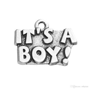 Antique Silver It's a boy girl Charms Dangle Hanging Charm DIY Jewelry Accessories Charms Jewelry