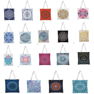 Mandala Shopping Bags Indian Handbags Floral Printed Travel Beach Bags Canvas Reusable Shoulder Totes Schoolbag Pouch DC994