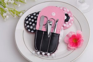 Pink Polka Dot Flip flop Manicure Set favor Novelty Wedding Bridal Shower Valentine's Day Gift Party Favors Present