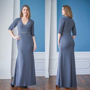 신부 드레스의 재스민 어머니 2021 V 넥 3 / 4Long 소매 새틴 이브닝 가운 맞춤 제작 바닥 길이 웨딩 게스트 드레스