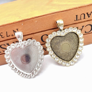DIY Jewelry Accessories Heart Shape Rhinestones Bottom Brackets Time Gem Sublimation Blank Pendant For Hot Transfer Printing Necklace
