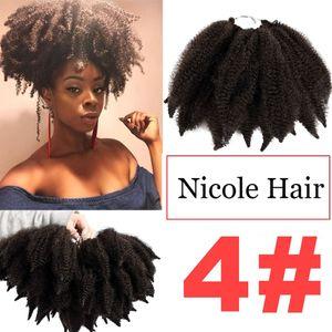 Nicole sintético 8 polegadas afro kinky tranças marly crochet extensões de cabelo de torção 14 raízes / pc alta temperatura fibra marley trança frete grátis