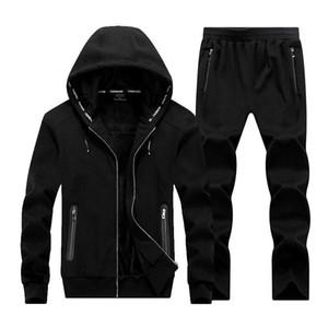 O-Boyun Moda Yeni Kış Erkekler Seti Kapşonlu Spor Ceket + Pantolon Eşofman 2PC Kalınlaşmak Spor Erkek Eşofman Takımı Giyim Trend