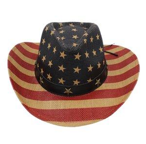 Fashion Men Women Summer Personality American Flag Western Cowboy Formal Hat Straw Cap For Beach Sun Hat Sun Protection